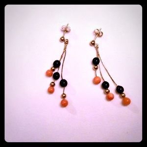Coral And Black Beaded Earrings on Gold